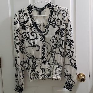 EUC White House Black Market Silk Blouse - Size 8